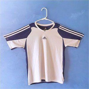 Adidas navy blue/white climalite tee shirt EUC